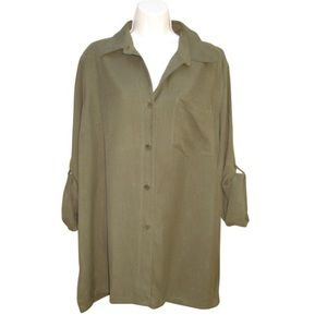 NWOT Ralph Lauren Olive Green Silk Top